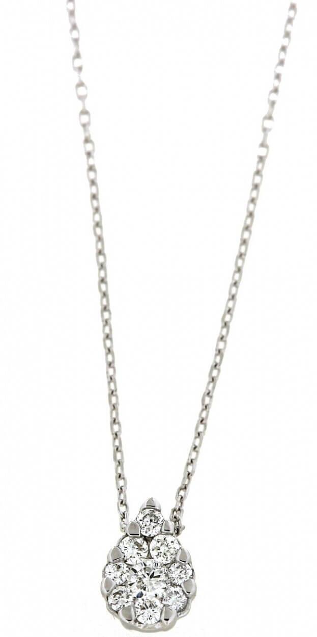 VERITA Necklace White Gold Κ14 with Diamonds