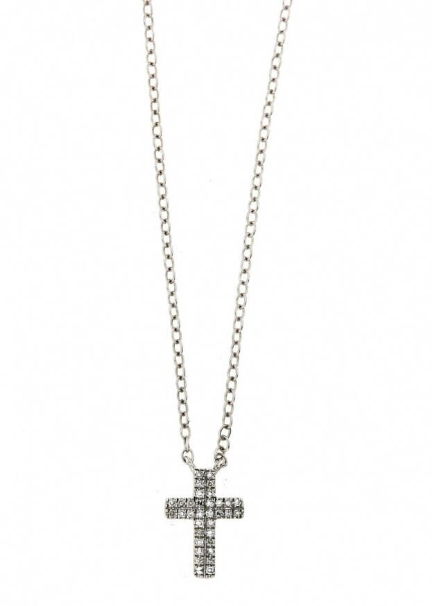 VERITA Κολιέ Σταυρός Λευκός Χρυσός Κ14 με διαμάντια