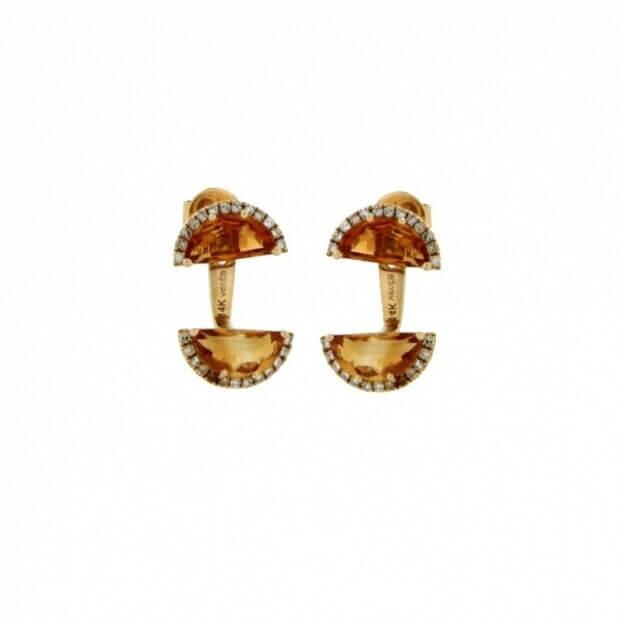 VERITA Σκουλαρίκια Κίτρινος Χρυσός Κ14 με διαμάντια & citrine