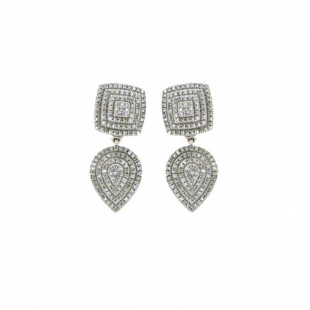 VERITA Σκουλαρίκια Λευκός Χρυσός Κ14 με διαμάντια