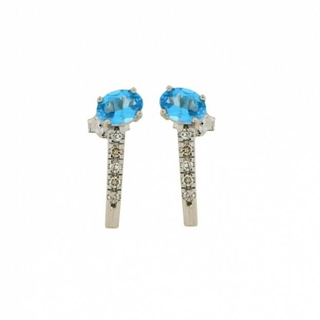 VERITA Σκουλαρίκια Λευκός Χρυσός Κ14 με διαμάντια & μπλε τοπάζι