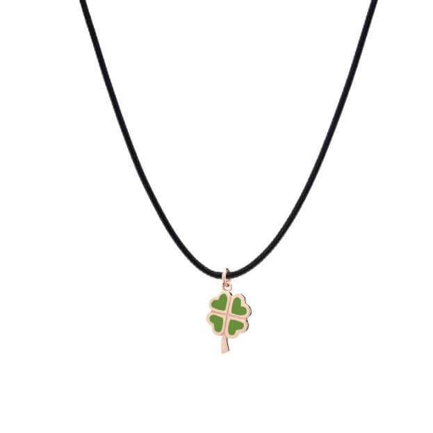 VERY GAVELLO LUCKY ROSE GOLD K9 PENDANT WITH GREEN ESSENZA
