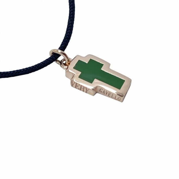 VERY GAVELLO TATTOO Ροζ Χρυσός K9 Μενταγιόν Πράσινη Essenza