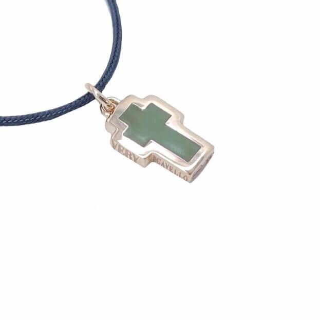 VERY GAVELLO TATTOO Ροζ Χρυσός K9 Μενταγιόν Πράσινο Ελιάς Essenza