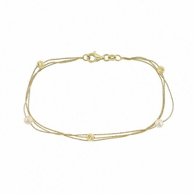 Inglessis Collection Βραχιόλι Κίτρινος Χρυσός Κ14 με μπίλιες χρυσού & πέρλες