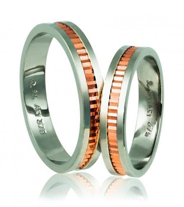 WEDDING RINGS 518 GD ΛΕΥΚΟ ΚΑΙ ΡΟΖ ΧΡΥΣΟ Κ14
