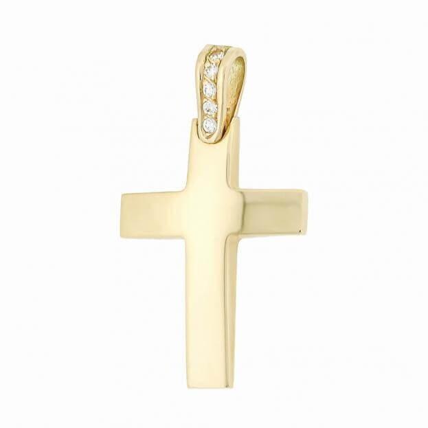 Χρυσός Σταυρός Inglessis Collection από Κίτρινο Χρυσό Κ18 με μπριγιάν 114546