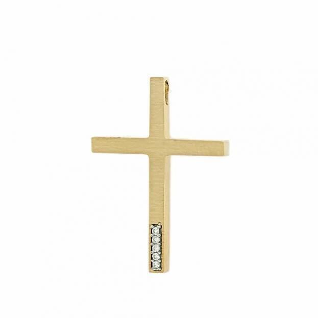 Χρυσός Σταυρός Inglessis Collection από Κίτρινο Χρυσό Κ14 με ζιργκόν 5DO485CR